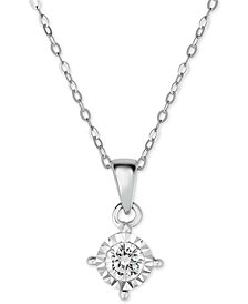 TruMiracle® Diamond Solitaire Pendant Necklace (3/8 ct. t.w.) in 14k White Gold