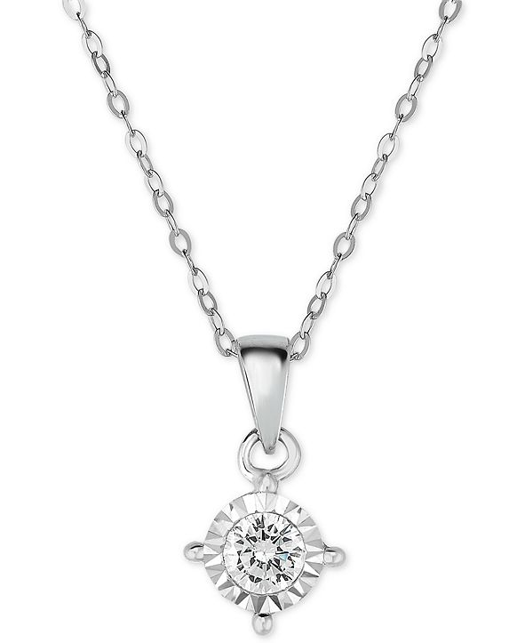 TruMiracle Diamond Solitaire Pendant Necklace (3/8 ct. t.w.) in 14k White Gold