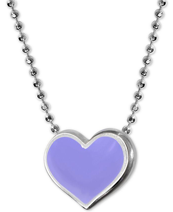 """Alex Woo - Lavender Enamel Vegas Heart 16"""" Pendant Necklace in Sterling Silver"""