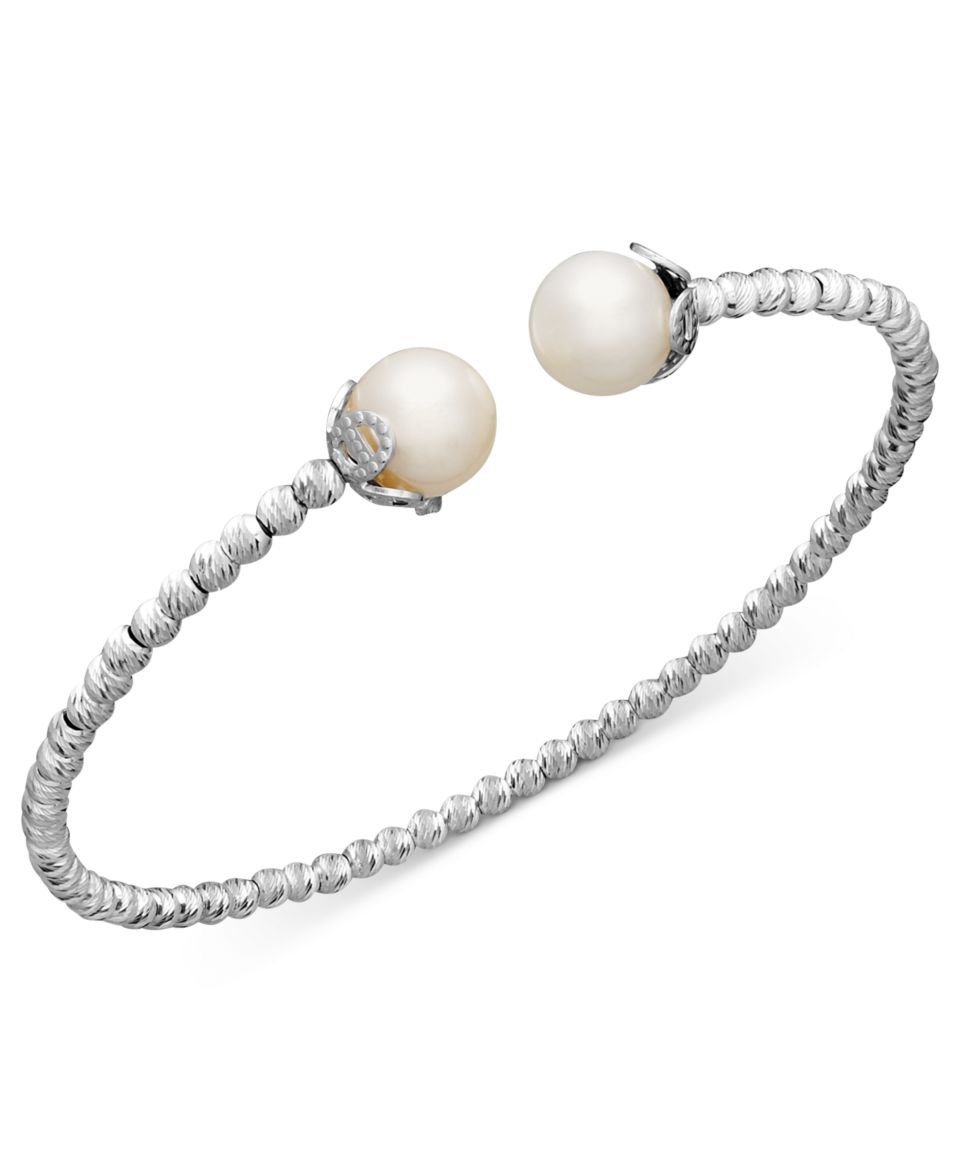 Pearl Bracelet, Sterling Silver Cultured Freshwater Pearl (4 1/2mm and 8 1/2mm) Sparkle Bead Cuff Bracelet   Bracelets   Jewelry & Watches