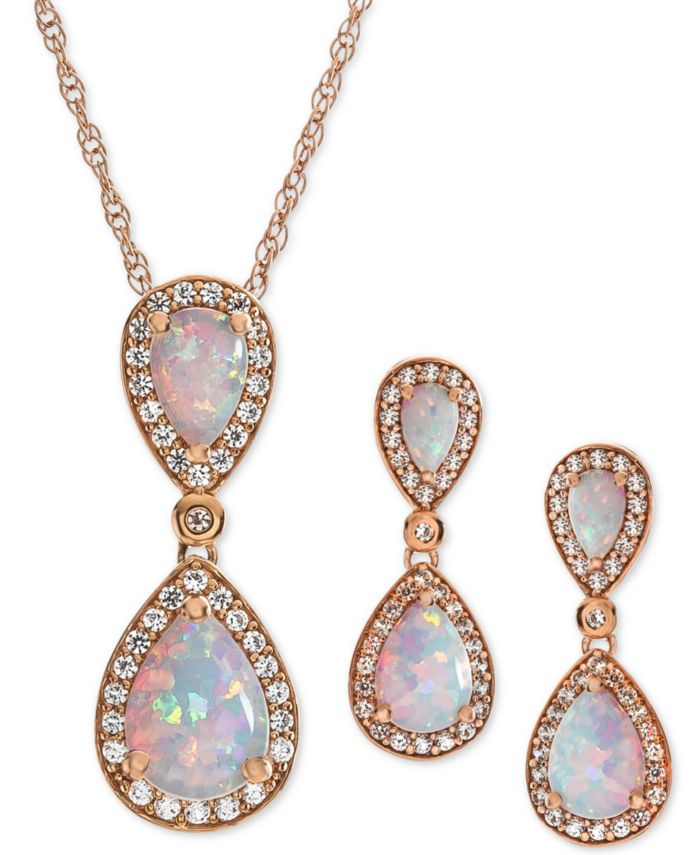 Macy's 2-Pc. Set Lab-Created Emerald (3 ct. t.w.) & White Sapphire (5/8 ct. t.w.) Pendant Necklace & Matching Drop Earrings in 14k Rose Gold-Plated Sterling Silver(Also Available in Sapphire, Opal, & Ruby) & Reviews - Jewelry & Watches - Macy's