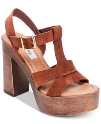 Lucille Wooden-Heel Platform Sandals