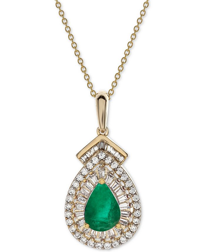 """Macy's - Certified Ruby (3/4 ct. t.w.) & Diamond (1/3 ct. t.w.) 18"""" Pendant Necklace in 14k Gold (Also Available in Sapphire or Emerald)"""