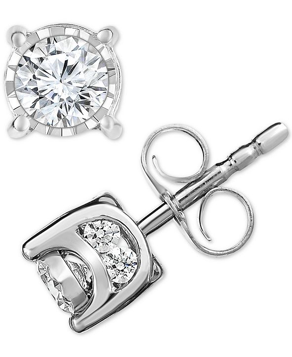 TruMiracle Diamond Halo Stud Earrings (1/2 ct. t.w.) in 14k White Gold
