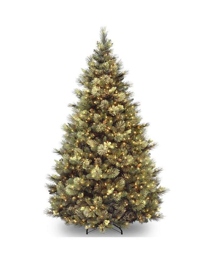 National Tree Company - National Tree 7' Carolina Pine Hinged Tree with Flocked Cones and 850 Clear Lights