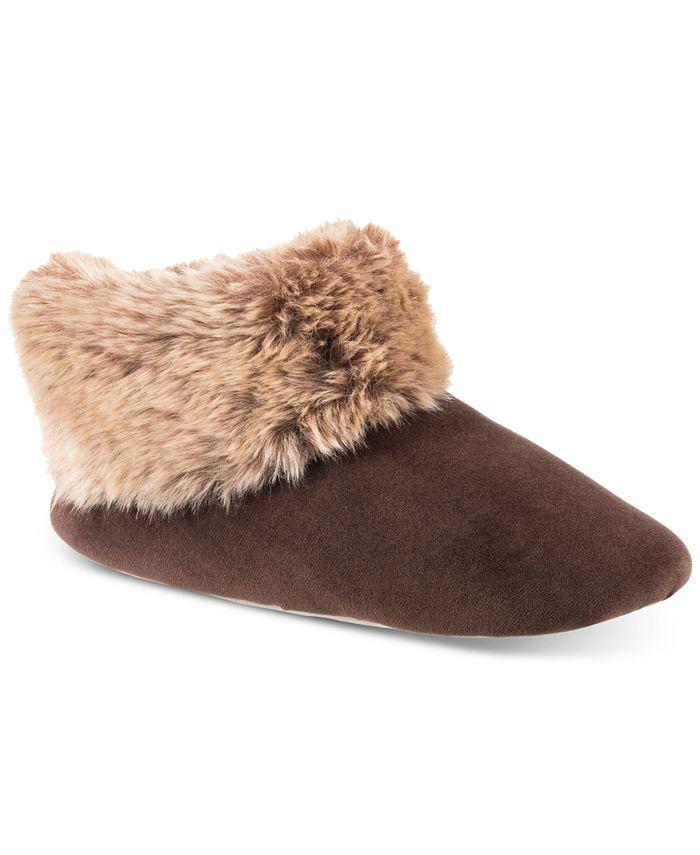 Isotoner Signature - Women's Velour & Faux Fur Sabrine Bootie Slippers