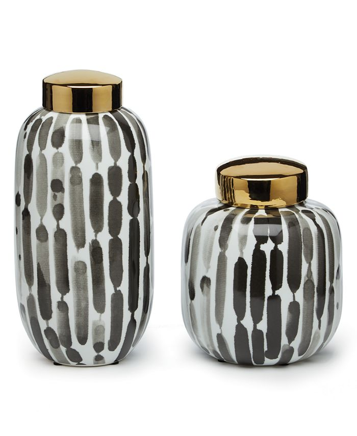 Two's Company - Brush Strokes Set of 2 Black and White Covered Jars with Gold Metallic Lid