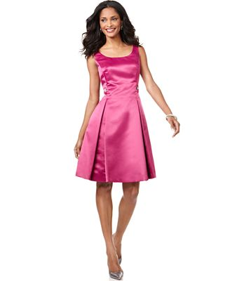 Evan Picone Dress, Sleeveless Satin A-Line Cocktail Dress