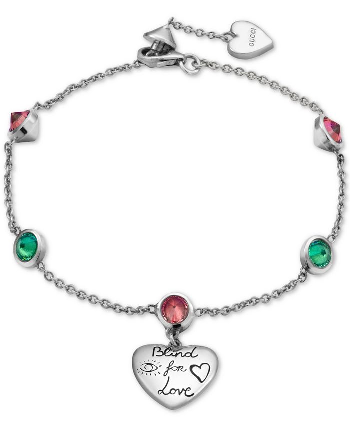 "Gucci - Cubic Zirconia ""Blind for Love"" Heart Charm Bracelet in Sterling Silver, YBA502150001017"