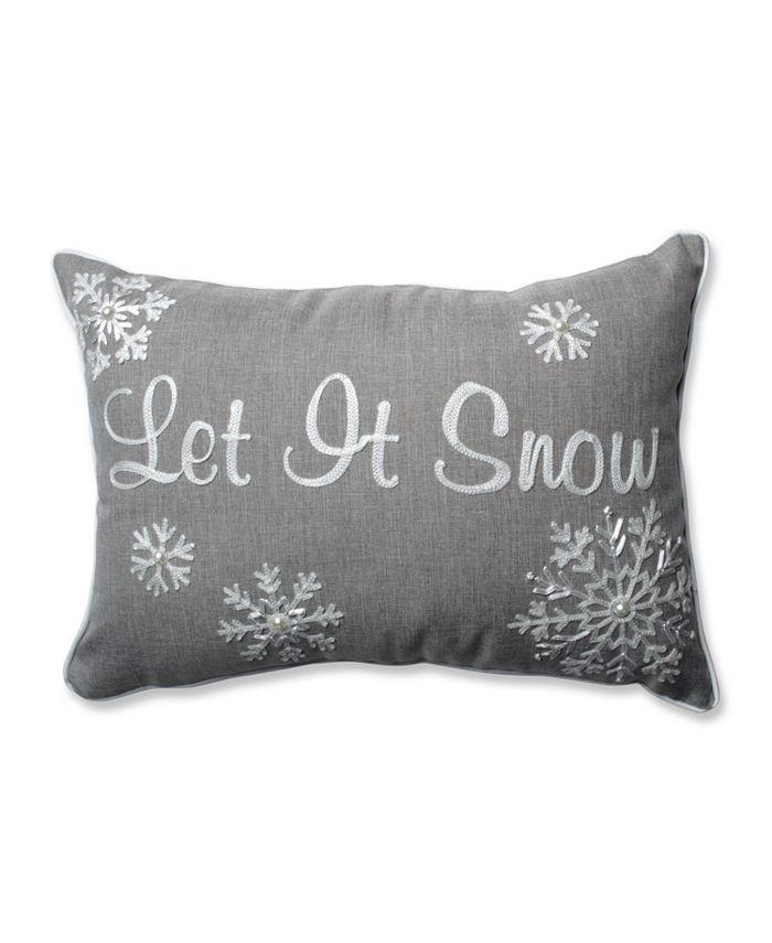 Pillow Perfect - Let It Snow Grey Rectangular Throw Pillow