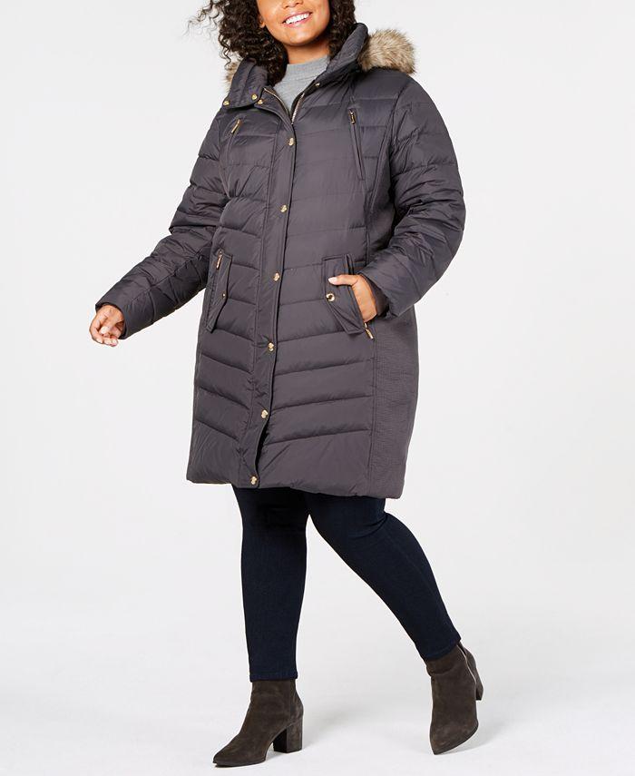 Michael Kors - Plus Size Hooded Faux-Fur-Trim Puffer Coat