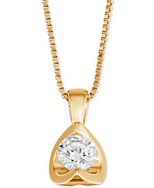 """Diamond Tension-Set 18"""" Pendant Necklace (5/8 ct. t.w.) in 14k White, Yellow or Rose Gold"""