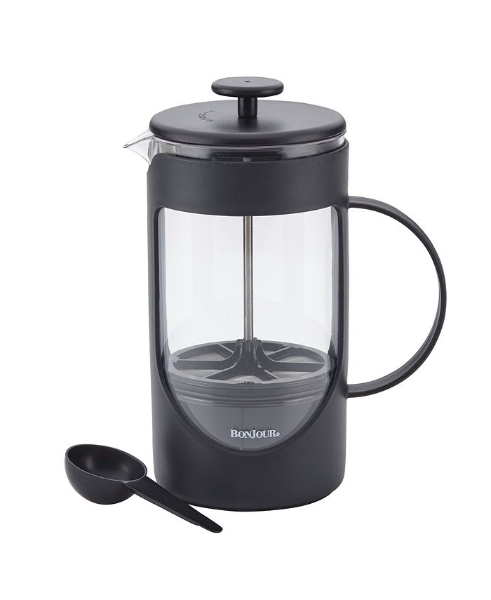 Bonjour - BonJour Coffee Unbreakable Plastic French Press with Lock and Toss™ Filter, 40-ounce, Black