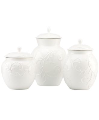 Lenox Canisters, Set of 3 Opal Innocence Carved