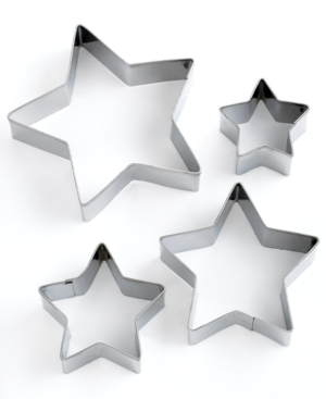 Martha Stewart Collection Professional Series Cookie Cutters, Set of 4 Star Stainless Steel