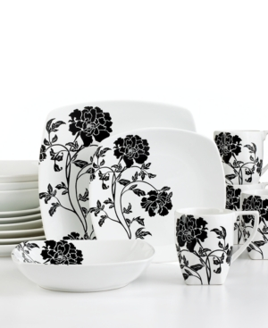 222 Fifth Dinnerware, Dancing Blooms 16 Piece Set