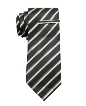 "Alfani RED Tie, 2"" Skinny Barbados Stripe with Tie Bar"