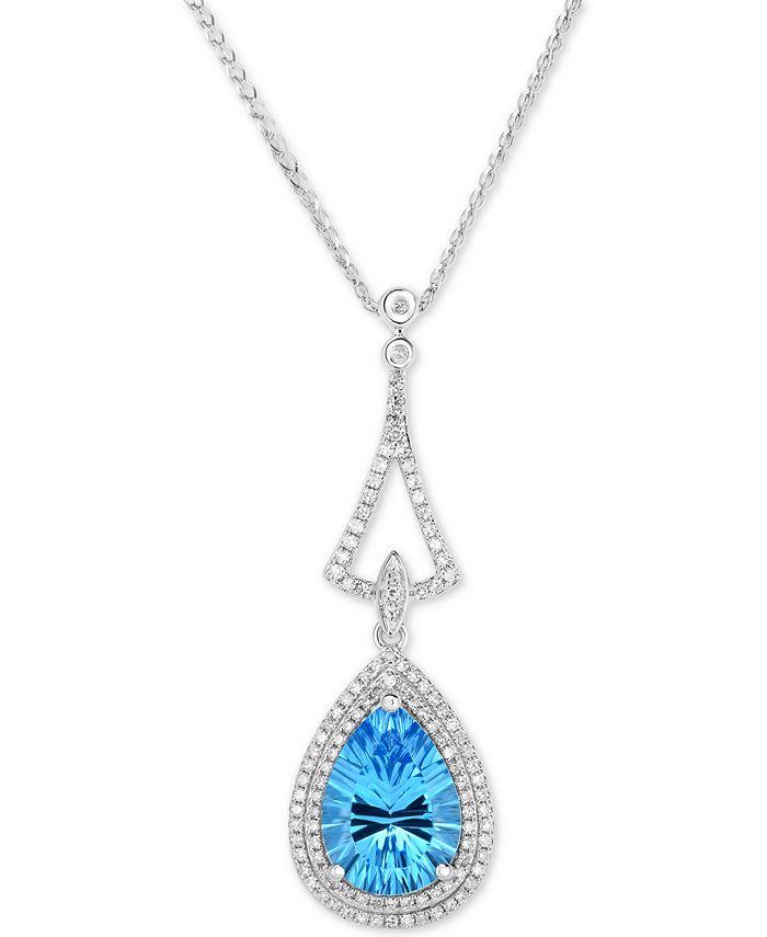 "Macy's - Blue Topaz (4-1/4 ct. t.w.) & Diamond (3/8 ct. t.w.) 18"" Pendant Necklace in 14k White Gold"