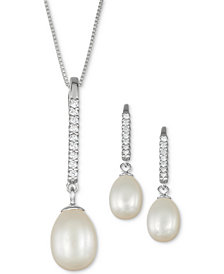 Cultured Freshwater Pearl (7-11mm) & Cubic Zirconia Linear Jewelry Set in Sterling Silver