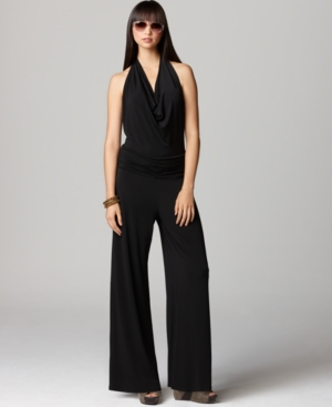 Bar III Pants, Sleeveless Halter Jumpsuit