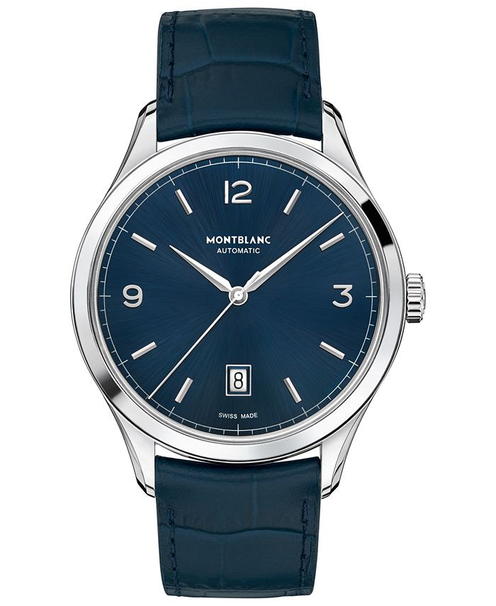 Montblanc - Men's Swiss Automatic Heritage Chronométrie Blue Alligator Skin Leather Strap Watch 40mm