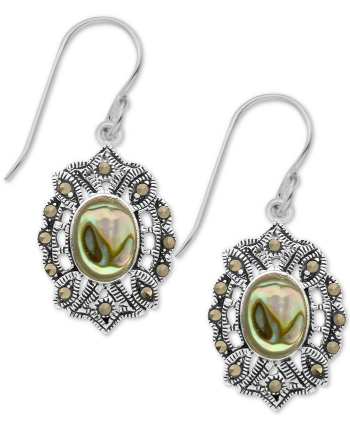 Macy's - Marcasite and Paua Shell Filigree Drop Earrings in Fine Silver Plate