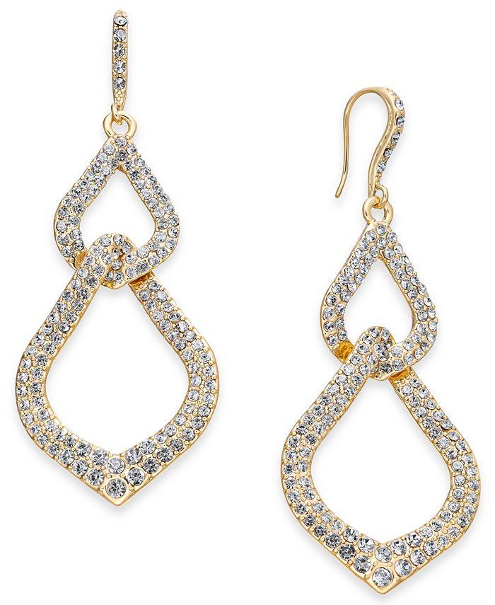 INC International Concepts - Gold-Tone Pavé Interlocking Link Drop Earrings
