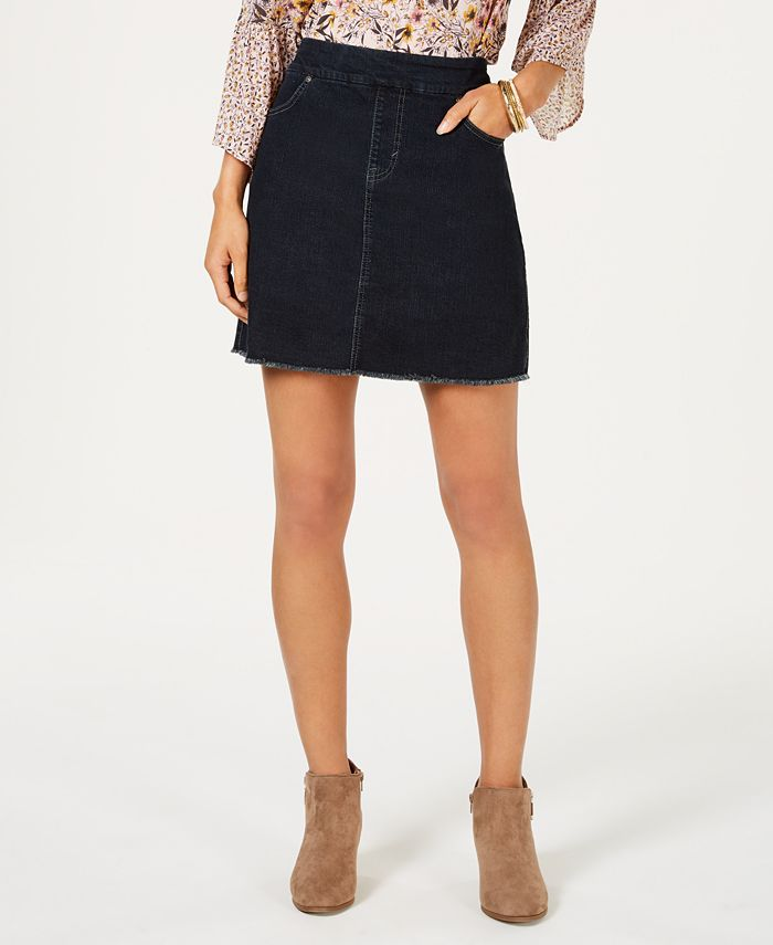 Style & Co - Frayed Pull-On Denim Skort