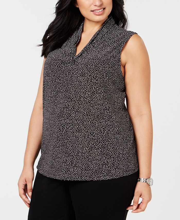Anne Klein - Plus Size Dot-Print Top