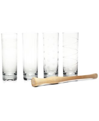 Mikasa Glassware, Set of 4 Cheers Mojito Glasses with Muddler