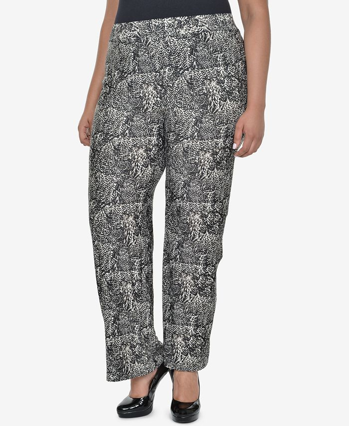 NY Collection - Plus Size Printed Pull-On Pants