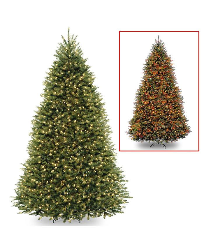 National Tree Company - National Tree 10' Dunhill Fir Hinged Tree with 1200 Low Voltage Dual LED Lights with 9 Function Footswitch