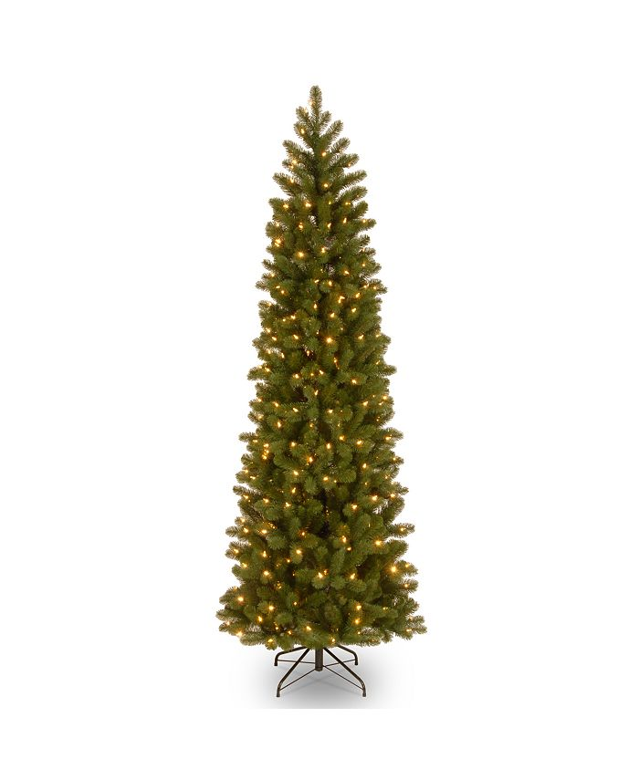"National Tree Company - National Tree 6 .5"" Feel Real Downswept Douglas Fir Pencil Slim Tree with 300 Clear Lights"