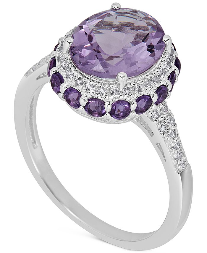 Macy's - Amethyst (2-1/3 ct. t.w) and White Topaz (1/6 ct. t.w) Ring in Sterling Silver