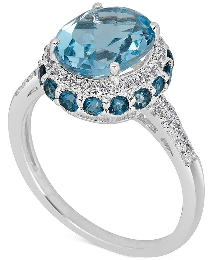 Macy's - Blue Topaz (2-1/3 ct. t.w) and White Topaz (1/6 ct. t.w) Ring in Sterling Silver
