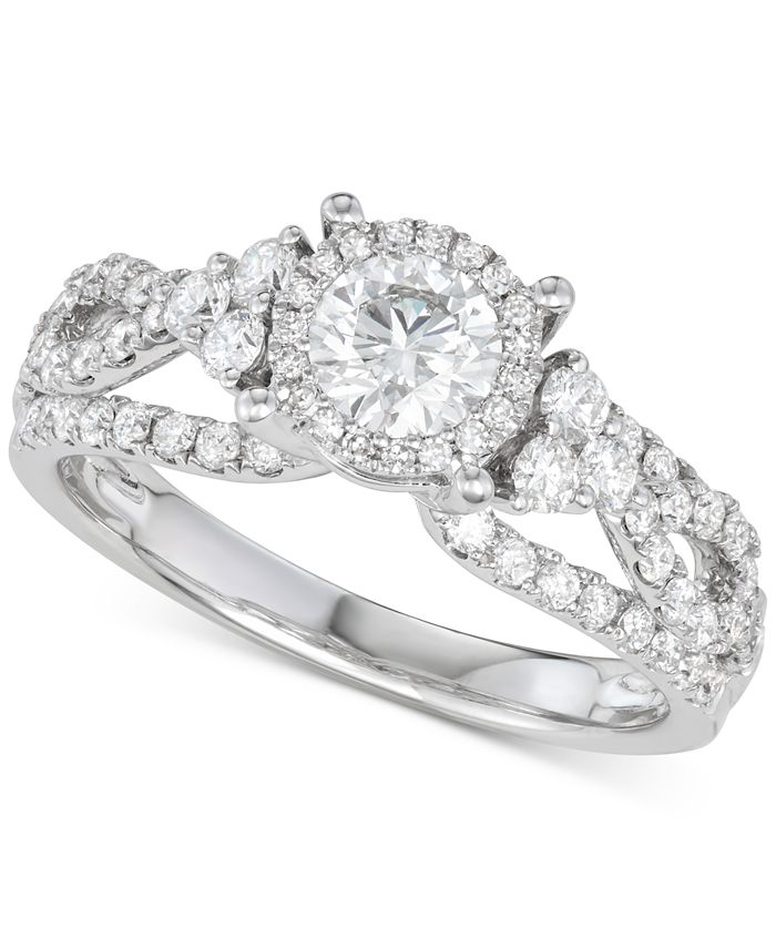 Macy's - Diamond Weave Engagement Ring (1-1/3 ct. t.w.) in 14k White Gold