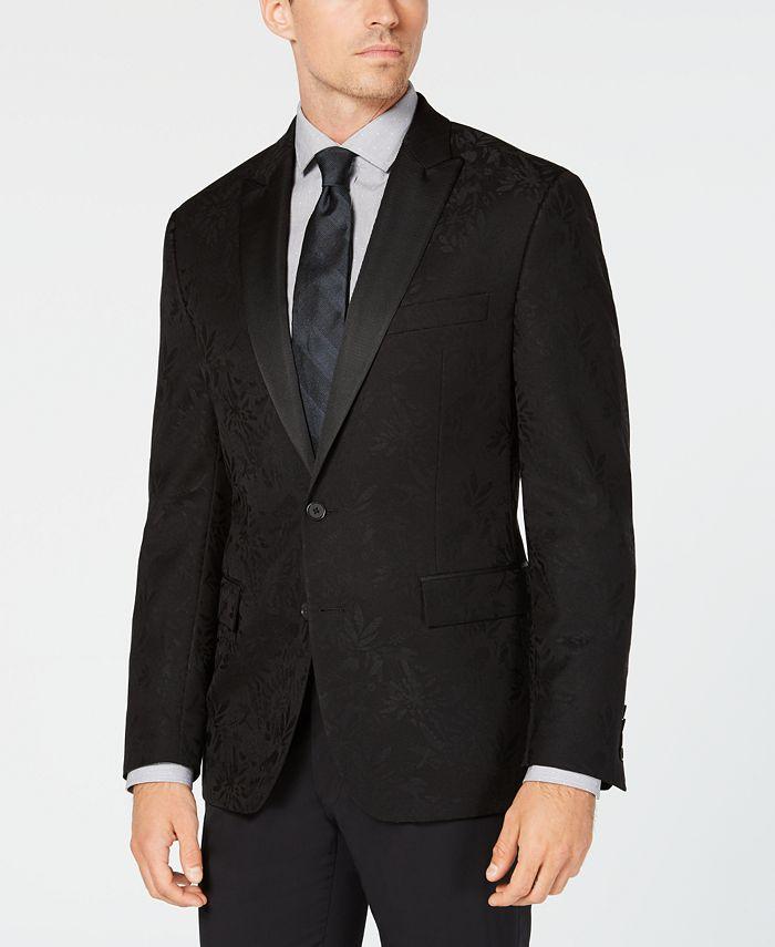 Ryan Seacrest Distinction - Men's Modern-Fit Stretch Black Floral Jacquard Dinner Jacket