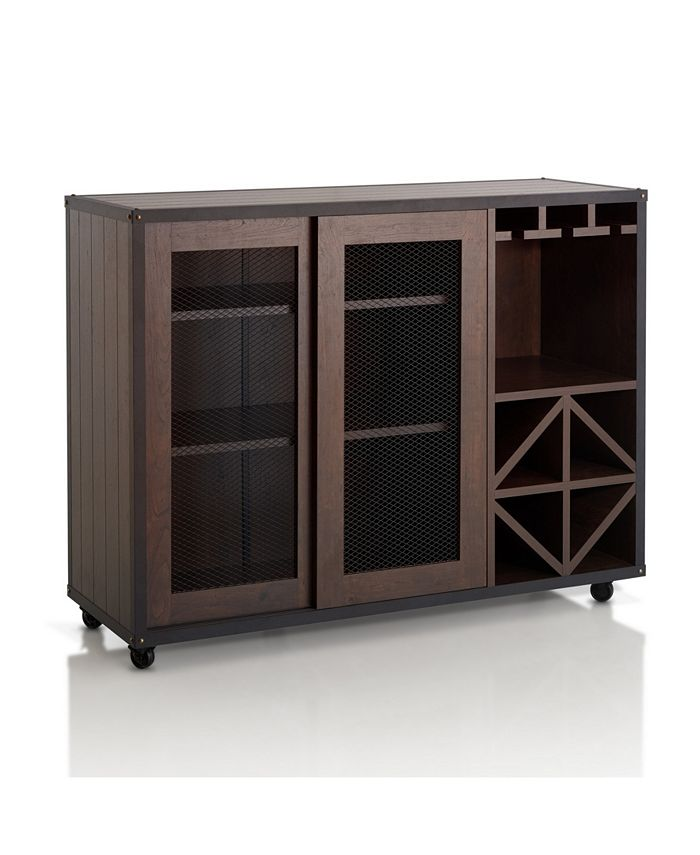 Furniture of America - Alan Wine Rack Buffet With Casters