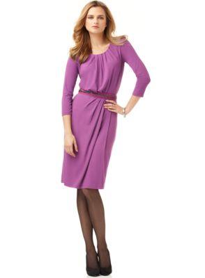 Anne Klein New Purple Belted Faux Wrap Wear to Work Dress XL BHFO