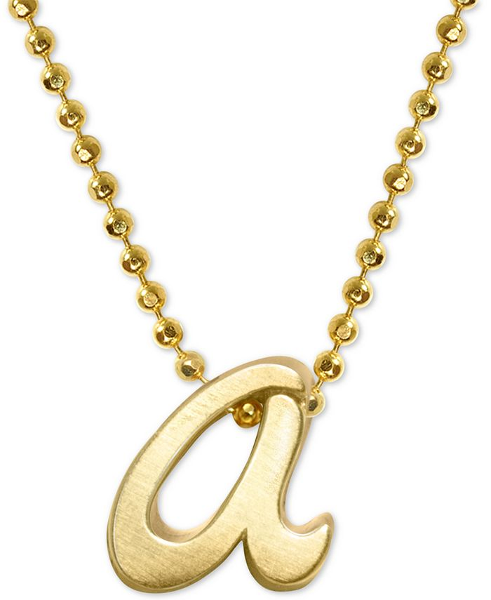 """Alex Woo - Scripted Initial """"a"""" 16"""" Pendant Necklace in 14k Gold (Also b, c, e, j, k m & s)"""
