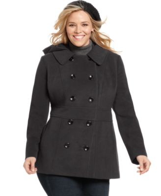 Style&co. Plus Size Coat, Removable Hood Pea Coat