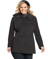 Style&co. Plus Size Coat, Removable Hood Pea Coat