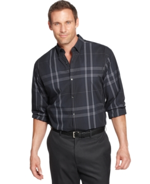 Calvin Klein Big and Tall Shirt, Dobby Plaid