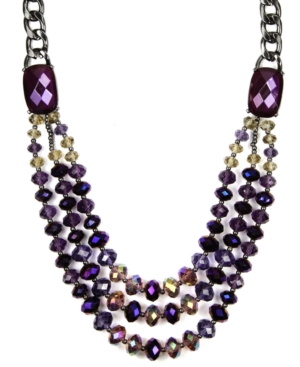 AK Anne Klein Necklace, Necklace, Hematite Tone Purple Beaded Collar Necklace