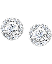TruMiracle®  Diamond Halo Stud Earrings (1/2 to 3/4 ct. t.w.) in 14k White Gold