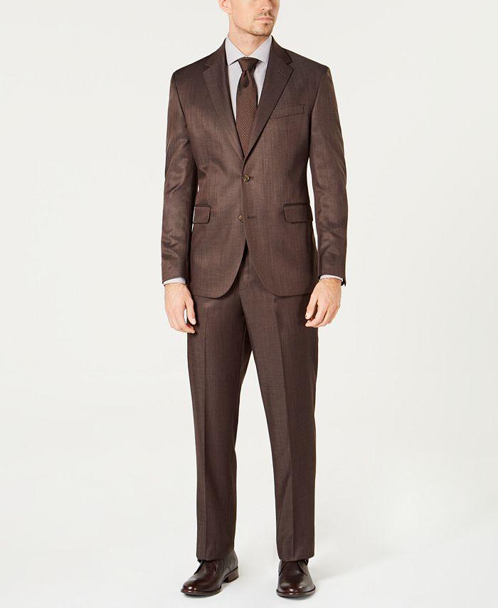 Dockers - Men's Modern-Fit Stretch Brown Sharkskin Suit