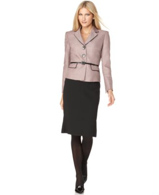 Evan Picone Suit, Long Sleeve Belted Jacket & Pleated Skirt