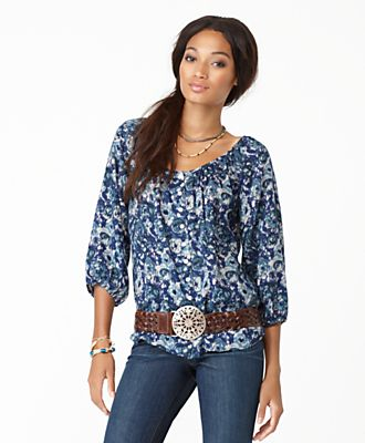 Lucky Brand Jeans Top, Three Quarter Sleeve Printed Peasant