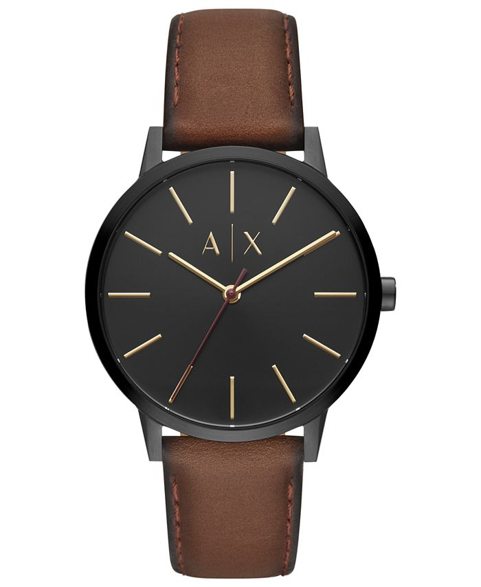 A|X Armani Exchange - Men's Cayde Brown Leather Strap Watch 42mm