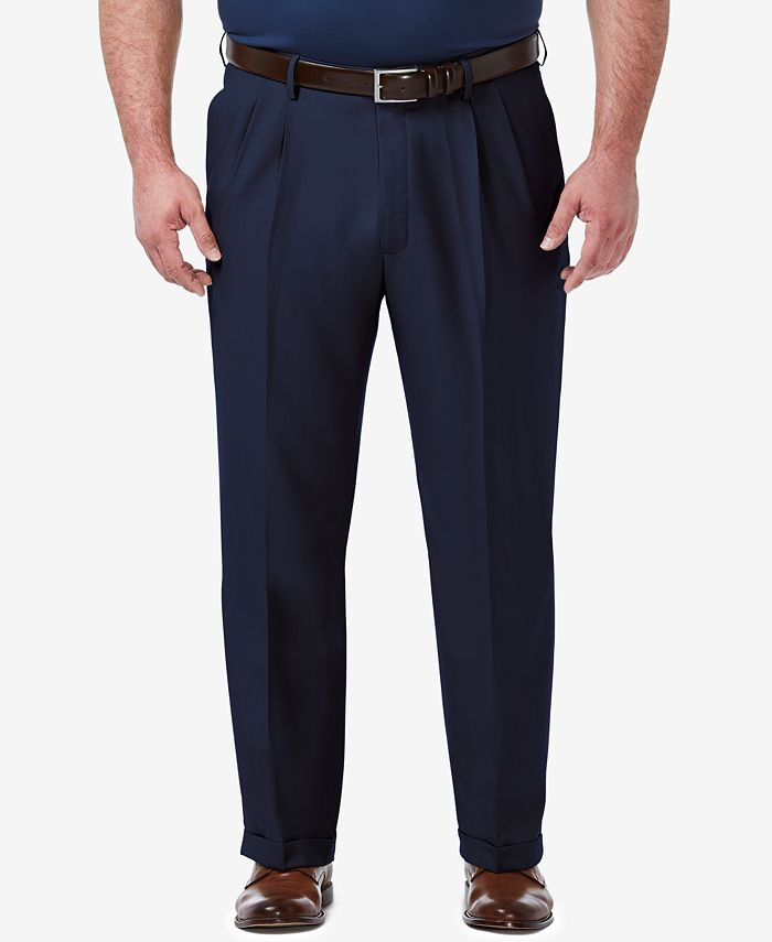 Haggar - Men's Big & Tall Premium Comfort Stretch Classic-Fit Solid Pleated Dress Pants